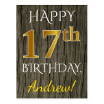 [ Thumbnail: Faux Wood, Faux Gold 17th Birthday + Custom Name Postcard ]