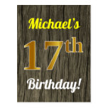 [ Thumbnail: Faux Wood, Faux Gold 17th Birthday & Custom Name Postcard ]