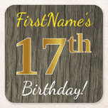 [ Thumbnail: Faux Wood, Faux Gold 17th Birthday + Custom Name Paper Coaster ]