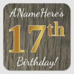 [ Thumbnail: Faux Wood, Faux Gold 17th Birthday + Custom Name Sticker ]