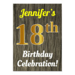 [ Thumbnail: Faux Wood, Faux Gold 18th Birthday Celebration Invitation ]