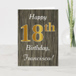 [ Thumbnail: Faux Wood, Faux Gold 18th Birthday + Custom Name Card ]