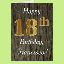 Faux Wood, Faux Gold 18th Birthday   Custom Name Card