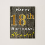 [ Thumbnail: Faux Wood, Faux Gold 18th Birthday + Custom Name Jigsaw Puzzle ]