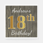 [ Thumbnail: Faux Wood, Faux Gold 18th Birthday + Custom Name Paper Napkin ]