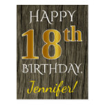 [ Thumbnail: Faux Wood, Faux Gold 18th Birthday + Custom Name Postcard ]