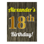 [ Thumbnail: Faux Wood, Faux Gold 18th Birthday & Custom Name Postcard ]