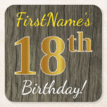 [ Thumbnail: Faux Wood, Faux Gold 18th Birthday + Custom Name Paper Coaster ]