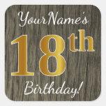 [ Thumbnail: Faux Wood, Faux Gold 18th Birthday + Custom Name Sticker ]