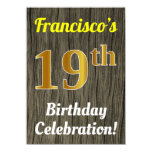 [ Thumbnail: Faux Wood, Faux Gold 19th Birthday Celebration Invitation ]