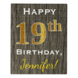 [ Thumbnail: Faux Wood, Faux Gold 19th Birthday + Custom Name Jigsaw Puzzle ]
