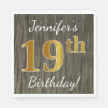 [ Thumbnail: Faux Wood, Faux Gold 19th Birthday + Custom Name Napkin ]