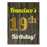 [ Thumbnail: Faux Wood, Faux Gold 19th Birthday & Custom Name Postcard ]