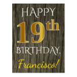 [ Thumbnail: Faux Wood, Faux Gold 19th Birthday + Custom Name Postcard ]
