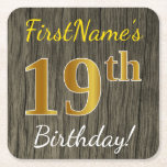 [ Thumbnail: Faux Wood, Faux Gold 19th Birthday + Custom Name Paper Coaster ]