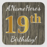 [ Thumbnail: Faux Wood, Faux Gold 19th Birthday + Custom Name Sticker ]