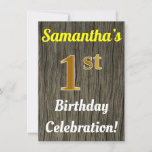 [ Thumbnail: Faux Wood, Faux Gold 1st Birthday Celebration Invitation ]