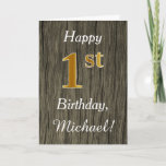 [ Thumbnail: Faux Wood, Faux Gold 1st Birthday + Custom Name Card ]