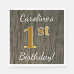 [ Thumbnail: Faux Wood, Faux Gold 1st Birthday + Custom Name Napkin ]
