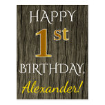 [ Thumbnail: Faux Wood, Faux Gold 1st Birthday + Custom Name Postcard ]