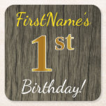 [ Thumbnail: Faux Wood, Faux Gold 1st Birthday + Custom Name Paper Coaster ]