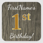 [ Thumbnail: Faux Wood, Faux Gold 1st Birthday + Custom Name Sticker ]