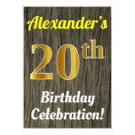[ Thumbnail: Faux Wood, Faux Gold 20th Birthday Celebration Invitation ]