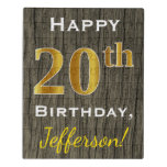 [ Thumbnail: Faux Wood, Faux Gold 20th Birthday + Custom Name Jigsaw Puzzle ]