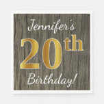 [ Thumbnail: Faux Wood, Faux Gold 20th Birthday + Custom Name Paper Napkin ]