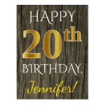 [ Thumbnail: Faux Wood, Faux Gold 20th Birthday + Custom Name Postcard ]