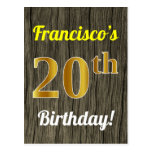[ Thumbnail: Faux Wood, Faux Gold 20th Birthday & Custom Name Postcard ]