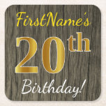 [ Thumbnail: Faux Wood, Faux Gold 20th Birthday + Custom Name Paper Coaster ]