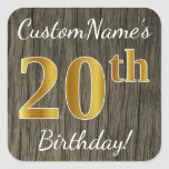 [ Thumbnail: Faux Wood, Faux Gold 20th Birthday + Custom Name Sticker ]