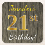 [ Thumbnail: Faux Wood, Faux Gold 21st Birthday + Custom Name Paper Coaster ]
