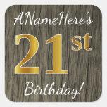 [ Thumbnail: Faux Wood, Faux Gold 21st Birthday + Custom Name Sticker ]