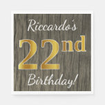 [ Thumbnail: Faux Wood, Faux Gold 22nd Birthday + Custom Name Napkin ]