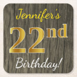 [ Thumbnail: Faux Wood, Faux Gold 22nd Birthday + Custom Name Paper Coaster ]