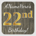 [ Thumbnail: Faux Wood, Faux Gold 22nd Birthday + Custom Name Sticker ]