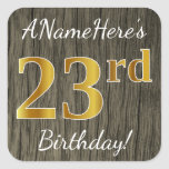 [ Thumbnail: Faux Wood, Faux Gold 23rd Birthday + Custom Name Sticker ]