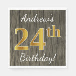 [ Thumbnail: Faux Wood, Faux Gold 24th Birthday + Custom Name Napkin ]