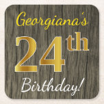 [ Thumbnail: Faux Wood, Faux Gold 24th Birthday + Custom Name Paper Coaster ]