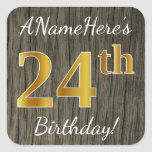 [ Thumbnail: Faux Wood, Faux Gold 24th Birthday + Custom Name Sticker ]
