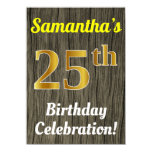 [ Thumbnail: Faux Wood, Faux Gold 25th Birthday Celebration Invitation ]