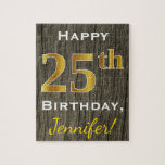 [ Thumbnail: Faux Wood, Faux Gold 25th Birthday + Custom Name Jigsaw Puzzle ]