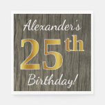 [ Thumbnail: Faux Wood, Faux Gold 25th Birthday + Custom Name Paper Napkin ]