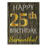 [ Thumbnail: Faux Wood, Faux Gold 25th Birthday + Custom Name Postcard ]