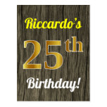 [ Thumbnail: Faux Wood, Faux Gold 25th Birthday & Custom Name Postcard ]