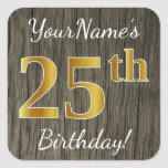 [ Thumbnail: Faux Wood, Faux Gold 25th Birthday + Custom Name Sticker ]