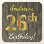 [ Thumbnail: Faux Wood, Faux Gold 26th Birthday + Custom Name Paper Coaster ]