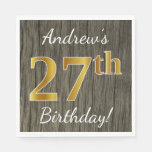 [ Thumbnail: Faux Wood, Faux Gold 27th Birthday + Custom Name Napkin ]
